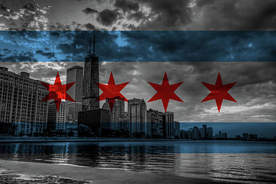 Chicago Flag Skyline Poster by Adam Oles