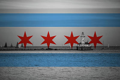 Chicago Harbor And Flag Poster by Adam Oles