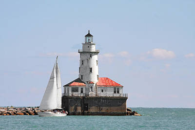 Chicago Harbor Lighthouse Poster by Christine Till