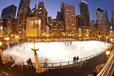 Chicago Ice Rink And Skyline At Dusk Poster