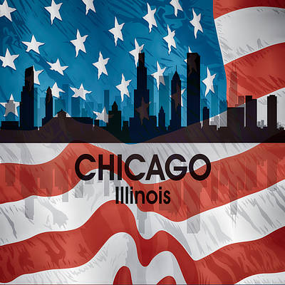 Chicago Il American Flag Squared Poster by Angelina Vick