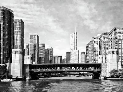 Chicago Il - Lake Shore Drive Bridge Black And White Poster by Susan Savad