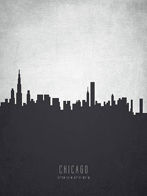 Chicago Illinois Cityscape 19 Poster by Aged Pixel