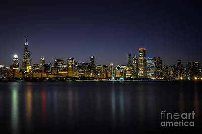 Poster featuring the photograph Chicago In Blue by Andrea Silies