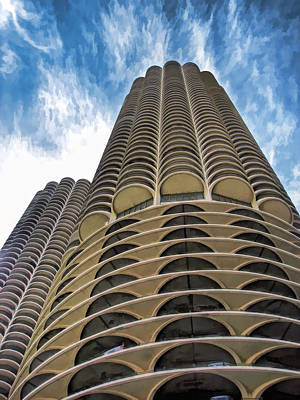 Poster featuring the painting Chicago Marina Towers by Christopher Arndt