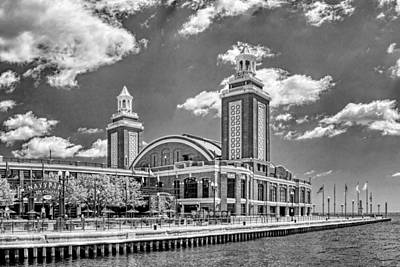 Chicago Navy Pier Black And White Poster
