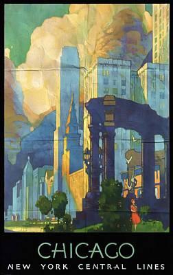 Chicago - New York Central Lines - Vintage Poster Folded Poster
