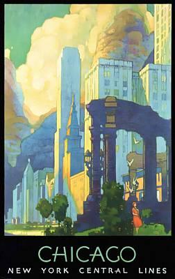 Chicago - New York Central Lines - Vintage Poster Restored Poster