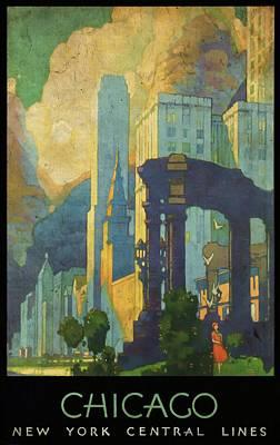Chicago - New York Central Lines - Vintage Poster Vintagelized Poster