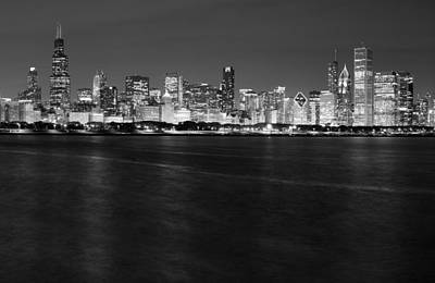 Chicago Night Skyline In Black And White Poster