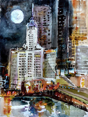 Poster featuring the painting Chicago Night Wrigley Building Art by Ginette Callaway