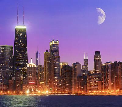 Chicago Oak Street Beach Poster by Donald Schwartz