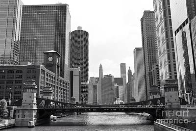 Chicago River Black And White Poster by Michael Paskvan
