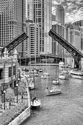 Poster featuring the photograph Chicago River Boat Migration In Black And White by Christopher Arndt