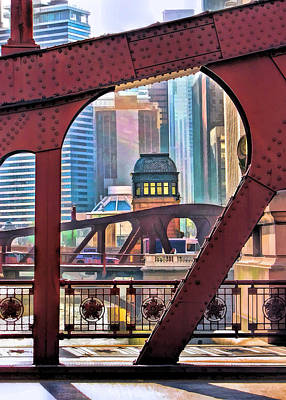 Poster featuring the painting Chicago River Bridge Framed by Christopher Arndt