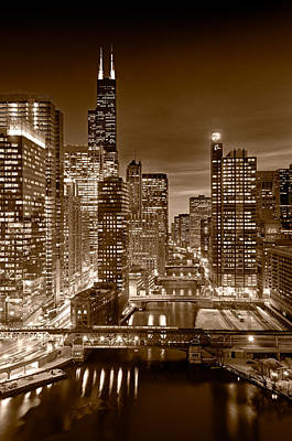 Chicago River City View B And W Poster