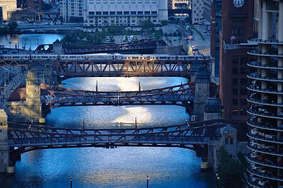 Chicago River First Light Poster by Steve Gadomski