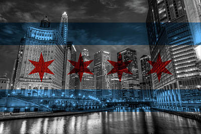 Chicago River Flag Poster by Adam Oles