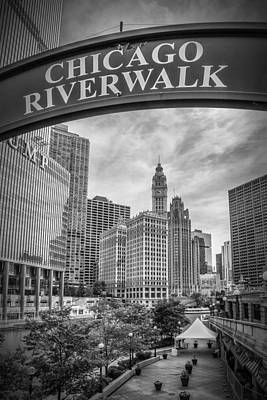 Chicago River Walk Black And White Poster by Melanie Viola