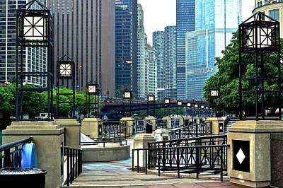 Chicago River Walk Invites You Poster by Frozen in Time Fine Art Photography