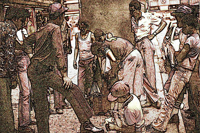 Chicago Shoeshine Boys - Pencil Poster by Art America Gallery Peter Potter