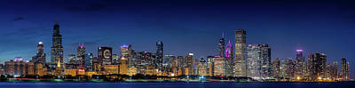 Poster featuring the photograph Chicago Skyline After Sunset by Emmanuel Panagiotakis