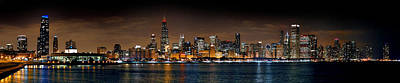 Chicago Skyline At Night Extra Wide Panorama Poster by Jon Holiday