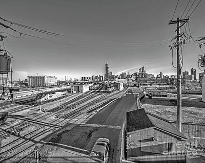Chicago Skyline - Black And White - Amtrak Poster by Kevin Oconnell