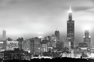 Chicago Skyline Black And White - Illinois - Usa Poster