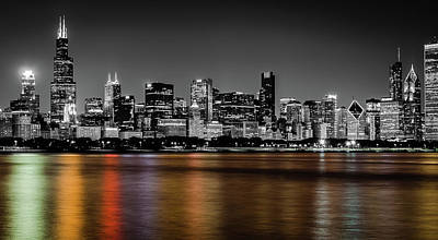 Chicago Skyline - Black And White With Color Reflection Poster