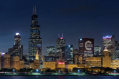 Poster featuring the photograph Chicago Skyline Go Gubs  by Emmanuel Panagiotakis
