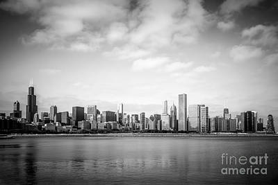 Chicago Skyline Lakefront Black And White Photo Poster