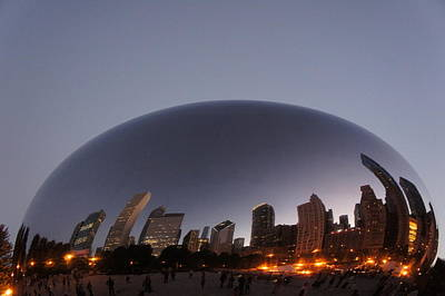 Chicago Skyline Reflection On The Bean Poster by Art Spectrum