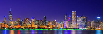Chicago Skyline With Cubs World Series Lights Night, Lake Michigan, Chicago, Cook County, Illinois Poster by Panoramic Images