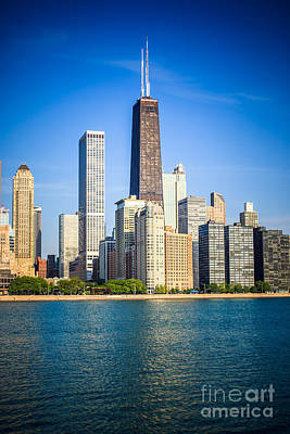 Chicago Skyline With John Hancock Center Building Poster by Paul Velgos