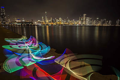 Chicago Skyline With Pixel Stick Painting Poster by Sven Brogren