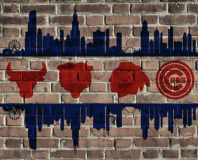 Chicago Sports Team Flag On Brick Poster by Dan Sproul
