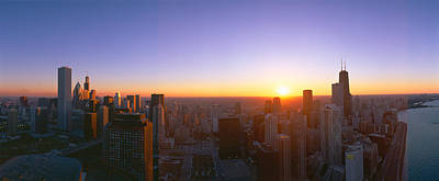 Chicago Sunset, Aerial View, Illinois Poster