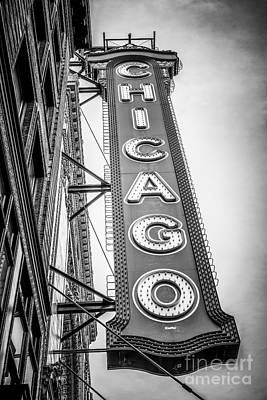 Chicago Theater Sign Black And White Picture Poster