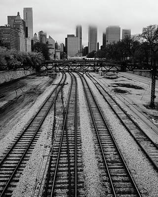 Chicago Tracks To The Foggy City  Poster