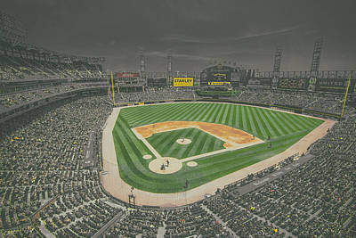 Chicago White Sox Us Cellular Field Creative 4 Black And White Poster
