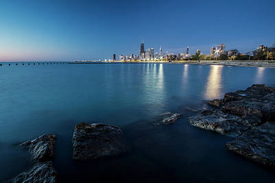 Chicago's Lakefront And Skyline At Dawn  Poster by Sven Brogren