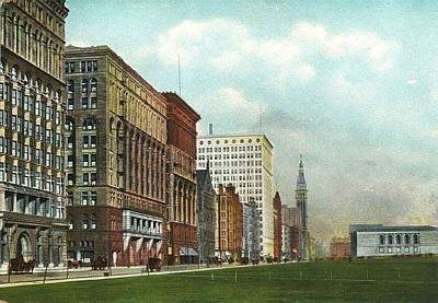 Chicago's Michigan Avenue Looking North From Congress Poster