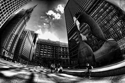 Chicago's Picasso With A Fisheye View Poster
