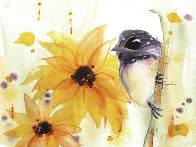 Poster featuring the painting Chickadee And Sunflowers by Dawn Derman