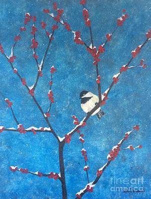 Poster featuring the painting Chickadee Bird by Denise Tomasura