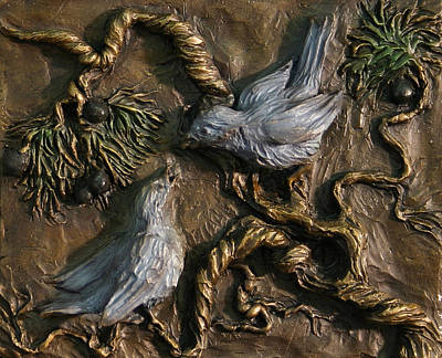 Poster featuring the relief Chickadees On Juniper With Berries  by Dawn Senior-Trask