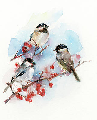 Chickadees With Berries Poster
