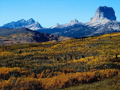 Chief Mountain In The Fall Poster