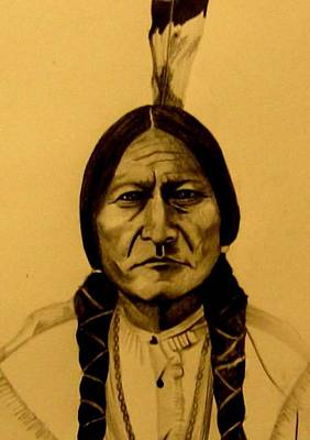 Poster featuring the drawing Chief Sitting Bull  Tatanka Iyotake by Michelle Dallocchio